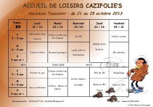 planning vacances toussaint2013
